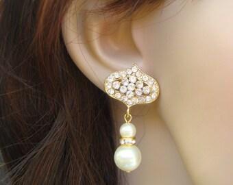 Pearl Bridal Earrings, Ivory Swarovski Pearls, Bridal Rhinestone Earrings, Gold Bridal Earrings,  Bridal Stud Earrings, Gold Earrings, SUE