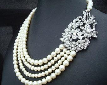 Pearl Necklace, Bridal Rhinestone Necklace,Ivory Pearls,Bridal Statement Necklace,Pearl Bridal Necklace,Pearl Rhinestone Necklace,ANTOINETTE