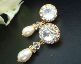 Pearl earrings Bridal Rhinestone Earrings Swarovski Pearls Pearl Rhinestone Earrings Gold Bridal Earrings Statement Bridal Earrings MAXINE