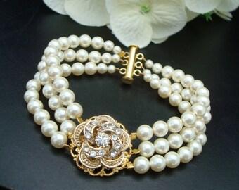 ivory swarovski pearl and crystal Bracelet Statement Bridal Bracelet Bridal Cuff Wedding Rhinestone Bracelet swarovski crystal ROSELANI