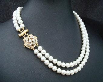Pearl Necklace Bridal Rhinestone Necklace Swarovski Pearls Gold Bridal Necklace Rose Rhinestone Necklace Pearl Bridal Necklace ROSELANI