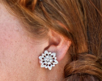 Bridal Rhinestone Earrings, Silver Stud, Flower Rhinestone Earrings, Bridal Stud Earrings, Silver, Post, Statement Bridal Earrings, MEGAN