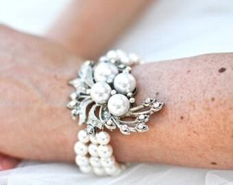 Pearl bracelet, Bridal rhinestone pearl Bracelet, Statement Bridal Bracelet, Bridal Rhinestone Bracelet, swarovski crystal bracelet, JULIE