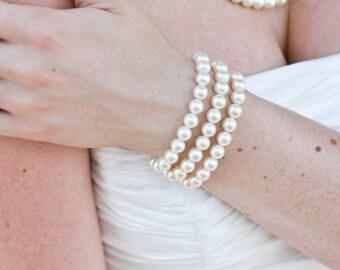 Ivory Swarovski Pearl Bracelet Bridal Pearl Bracelet Statement Bridal Bracelet Wedding Pearl Bracelet swarovski pearl vintage style MARIELLE