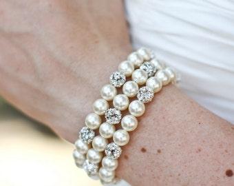 Pearl Bridal bracelet, wedding rhinestone bracelet, Wedding Pearl bracelet, swarovski pearl bracelet, Bridal Classic bracelet, CLAIRE