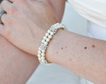 Pearl Bridal Bracelet Ivory Swarovski Pearls Rhinestones Bracelet Classic Bracelet Bridal Rhinestone Ivory vintage style bracelet ARIANNE