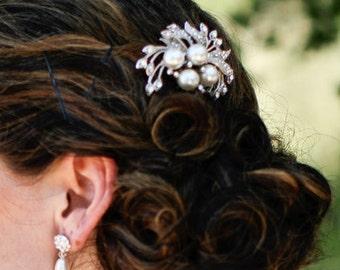 Pearl hair comb Bridal Rhinestone Hair Comb Rhinestone Hair Comb White Pearl Bridal Hair Comb Statement Bridal Hair Comb Vintage Style JULIE