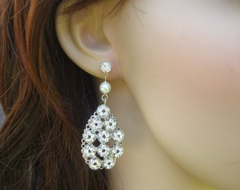 Pearl Earrings Bridal Pearl Earrings White Swarovski Pearls Bridal Rhinestone Earrings Statement Bridal Earrings Stud Earrings JULISSA