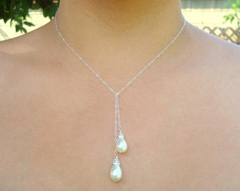 Bridal Pearl Necklace, Ivory Swarovski Pearls, Lariat Sterling Silver Chain Necklace, Pear Shape, Wedding Pearl Necklace, MANDY
