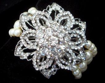 Bridal Pearl Bracelet, Ivory Swarovski Pearls, Cuff Rhinestone Bracelet, Pearl Bracelet, Statement Bridal Bracelet, Bridal Bracelet, DALLA
