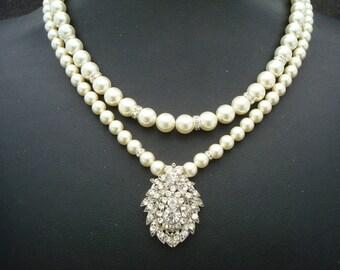 Bridal Pearl Necklace Ivory swarovski Pearls Wedding Pearl Necklace Bridal Rhinestone Brooch Necklace Statement Bridal Necklace IRENE