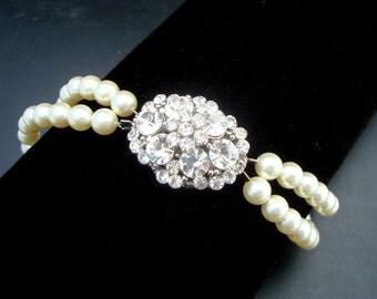ivory swarovski pearl and crystal Bracelet Statement Bridal Bracelet Bridal Cuff Wedding Rhinestone Bracelet swarovski pearl CARMINE
