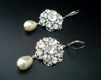 bridal pearl and Rhinestone Earrings Wedding Earrings Chandeliers crystal Earrings ivory swarovski pearl earrings statement earrings SUSAN