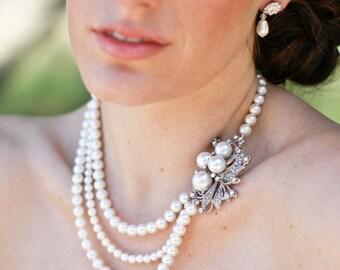 pearl necklace, bridal necklace, Wedding Rhinestone necklace, swarovski crystal necklace, bridal jewelry, Statement bridal necklace, JULIE