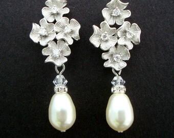 Bridal Earrings, pearl Rhinestone earrings, Wedding Earrings, Chandeliers Earrings, swarovski pearl earrings, statement earrings, HELENA