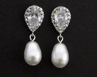 Pearl Bridal earrings, Pearl Rhinestone Earrings, Statement Earrings, Pearl stud Earrings, cubic zirconia earrings, dangle earrings, AUDREY