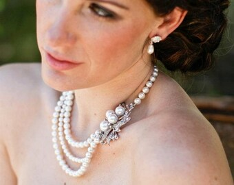 pearl necklace, bridal pearl necklace, pearl rhinestone necklace, Wedding Rhinestone necklace, swarovski crystal and pearl necklace, JULIE