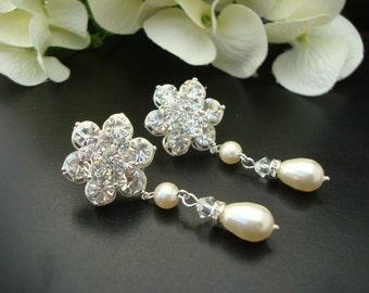 Pearl and Rhinestone Earrings, Bridal Rhinestone Earrings, Ivory Swarovski Pearl, Teardrop Pearls, Bridal Stud Earrings, Pearl,  ANNABETH
