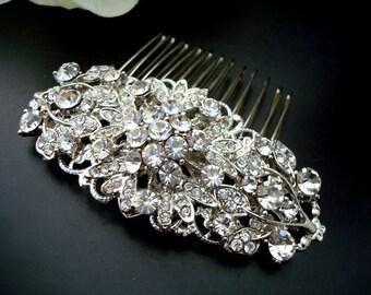 Wedding Bridal Hair Comb,Wedding Hair Comb,Bridal Hair Comb Flower Hair Comb,Bridal Rhinestone Hair Comb,Statement Hair Comb,Silver,ADELIA