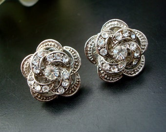 Bridal Stud Earrings Wedding Rhinestone Earrings Rose crystal Rhinestone Bridal Rhinestone Earrings Statement Bridal Earrings Stud ROSELANI