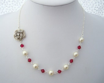 Pearl Necklace Bridal Necklace Bridal Rhinestone Necklace Swarovski Pearls Red swarovksi Crystals Necklace Crystal pearl Necklace ROSELANI