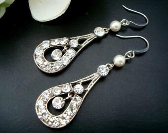 Ivory swarovski pearl Bridal Earrings Rhinestone Wedding Earrings Chandeliers Earrings swarovski pearl crystal teardrop earrings  GRISELDA