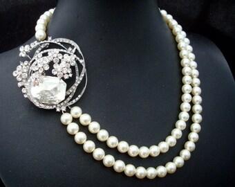 ivory swarovski pearl and crystal necklace Statement Bridal necklace Wedding Rhinestone necklace swarovski crystal and pearl  BEVERLY