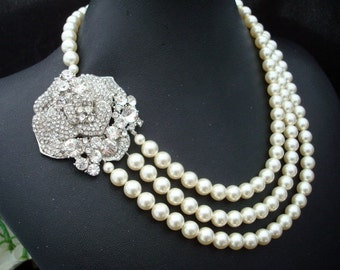 Bridal Pearl Necklace, Ivory or White Pearls, Rose Rhinestone Brooch,Bridal Rhinestone Necklace, Statement Bridal Necklace,Pearl, ANGELINA