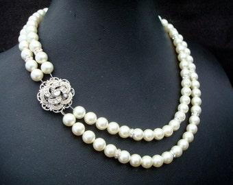 ivory swarovski pearl and crystal necklace Statement Bridal necklace Wedding Rhinestone necklace swarovski crystal and pearl ROSELANI