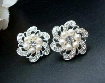 pearl Bridal Earrings,Rhinestone Wedding Earrings, bridal stud earrings, statement Earrings, swarovski pearl and crystal earrings, AMELIA