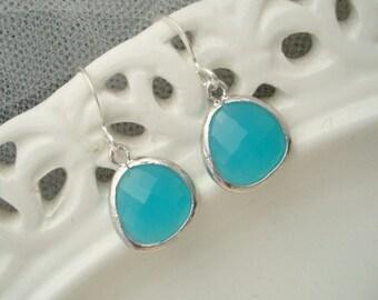 Bridal Earrings Something Blue Earrings vintage style Bridal Rhinestone Earrings teardrop earrings silver earrings bridal jewelry AMY