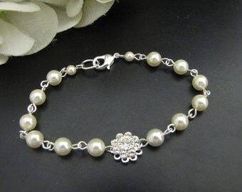 ivory swarovski pearl and crystal Bracelet Statement Bridal Bracelet Bridal Cuff Wedding Rhinestone Bracelet swarovski crystal JENNA