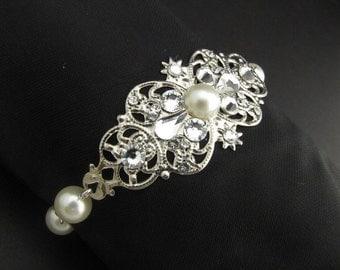 ivory swarovski pearl and crystal Bracelet Statement Bridal Bracelet Bridal Cuff Wedding Rhinestone Bracelet swarovski crystal Genie