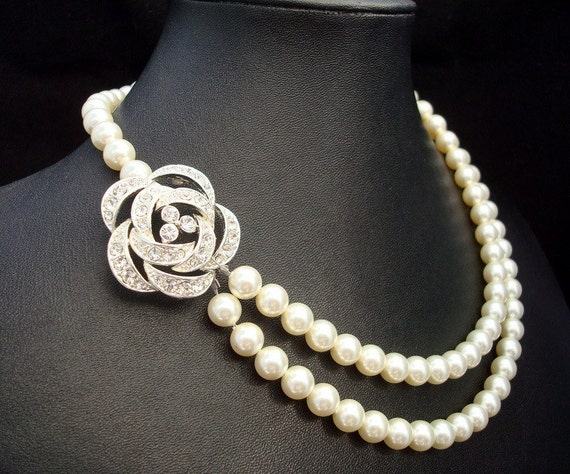 Bridal Pearl Necklace, Ivory or White Pearls,Wedding Rose Necklace,Statement Bridal Necklace, Bridal Rhinestone Necklace,Rose,Pearl,ROSELLE
