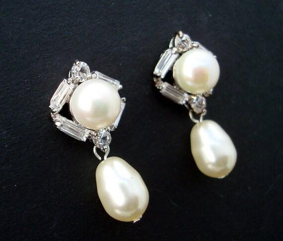 Pearl Earrings,Bridal Pearl Earrings,Rhinestone Earrings,Swarovski Pearls,Pearl Rhinestone Earrings,Bridal Rhinestone Earrings,Stud,ANGELICA