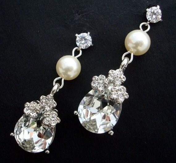 Rhinestone Bridal Earrings, Ivory Swarovski Pearls,Teardrop Rhinestone, Cubic Zirconia Earrings, GLENDA