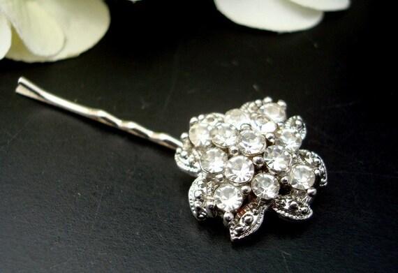 Hair Accesory,Bridal Rhinestone Hair Pin,Silver Hair Pin,Bridal Wedding Hair Pin,Bridal Jewelry,Wedding Jewelry,Vintage Style Hair Pin,PATTY