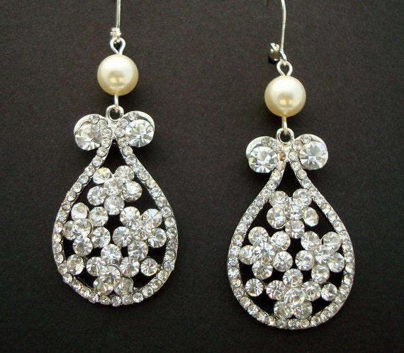 Wedding Earrings,Bridal Earrings,Vintage Style Pearl and Crystal Rhinestone Dangle Earrings,Teardrop Earrings, Bridal Jewelry,Pearl,THEA