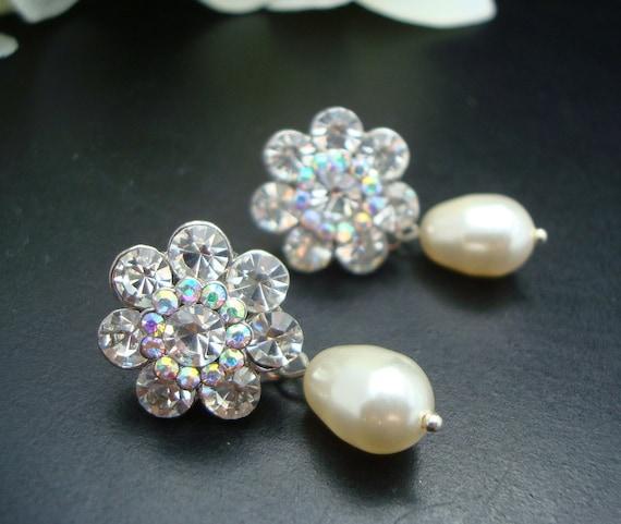 Bridal Pearl Earrings,Rhinestone Bridal Earrings, Ivory or White Swarovski Pearls,Statement Bridal Earrings,Pearl Rhinestone Earrings,HATTIE