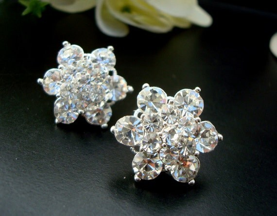 Bridal Wedding Rhinestone Earrings Bridal Rhinestone Earrings,Flower Earrings,Bridal Earrings, Statement Bridal Earrings,Silver,ANNABETH