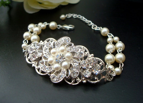 Bridal Bracelet,Pearl Rhinestone Bracelet,Ivory or White Pearls,Bridal Bracelet,Pearl Bridal Bracelet,Bridal Rhinestone Bracelet,Cuff,AMELIA