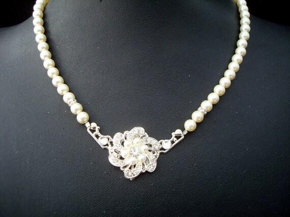 Pearl Necklace, Bridal Necklace,Bridal Rhinestone Necklace, Swarovski Pearl, Statement Bridal Necklace, Bridal Pearl Necklace, Pearl, AMELIA