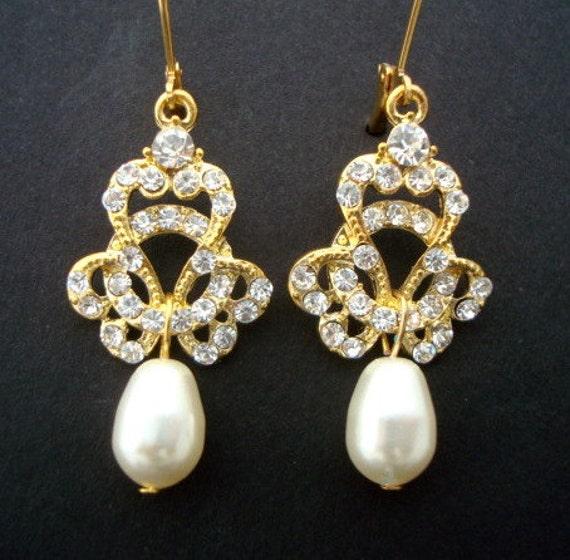 Reserved for Laura,Bridal Pearl Earrings, Ivory Swarovski Pearls, Bridal Rhinestone Earrings, Gold Bridal Earrings, SUKIE
