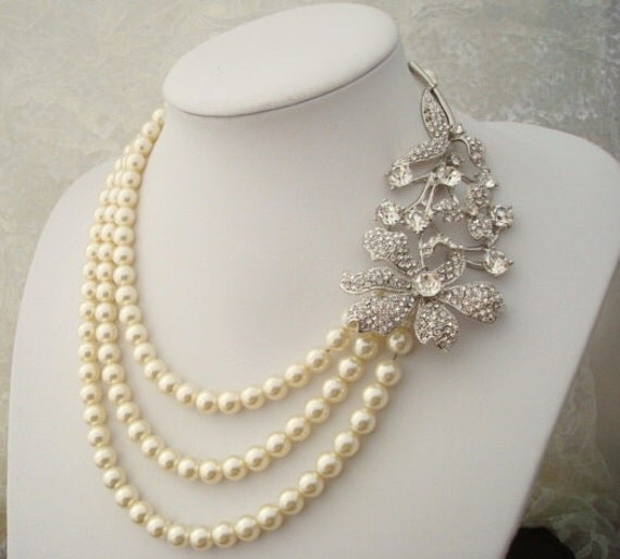 Bridal Pearl Necklace,Bridal Rhinestone Necklace,Ivory Swarovski Pearls,Statement Bridal Necklace, Pearl Rhinestone Necklace,Pearl, CHANELLE