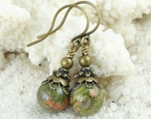 Gemstone Beaded Earrings Unakite Earrings Antique Brass Earrings Gemstone Jewelry Autumn Earrings  - Vintage Inspired Fall Jewelry