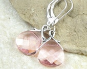 Pink Earrings Romantic Silver Earrings Pink Swarovski Crystal Earrings Sterling Lever Back Earrings Pink Earrings Pink Jewelry