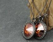 Crystal Copper Earrings Gunmetal Earrings Swarovski Jewelry Black and Orange Autumn Jewelry Fall Earrings
