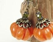 Orange Pumpkin Earrings Autumn Jewelry Fall Earrings - Antique Brass Beaded Jewelry - Back To School Fall Jewelry Hostess Gift for Women