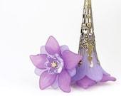 Bohemian Earrings Summer Jewelry Boho Chic Purple Lucite Flower Vintage Style Jewelry Lavender Lilac Light Purple Grape Tall Earrings