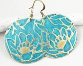 Lotus Flower Earrings Teal Jewelry Dark Teal Blue Lotus Jewelry Shabby Chic Cottage Distressed Embossed Brass Earrings Dark Aqua